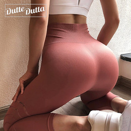 Seamless Yoga Pants NZ - Duttedutta High Waist Yoga Pants for Women Soft Sports Pants Hollow Out Seamless Leggings Slim Workout Running Tights XS-XXL