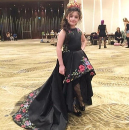 Pink teenage Party dresses online shopping - 2018 Black Embroidery Girls Pageant Dresses Children Birthday Holiday High Low Party Dresses Teenage Princess Toddler Dresses BA9187