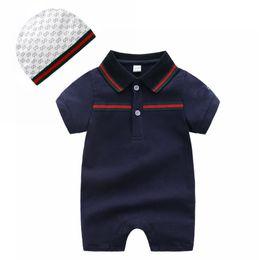Ropa de bebé al por menor 100% algodón de manga corta mono recién nacido de punto verano bebé niña niña ropa solapa de color sólido