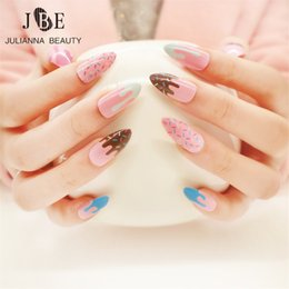 The Cheapest Price Beautiful Flowers 24pcs French Printing False Nail With Diamonds Nail Tips Art Design Fake Nails With Glue Sticker Free Shipping Modern And Elegant In Fashion Nails Art & Tools False Nails