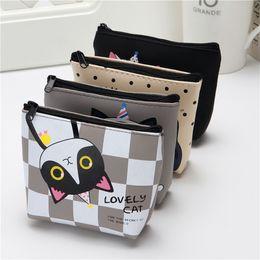 Korean Knit Fabric Canada - Korean cute creative zero wallet kitty silicone key bag cartoon girl student hand small wallet