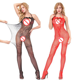 4a3c14e444 Sexy Lingerie Women Sexy Sheer Fishnet Stocking Bodysuit OpenBust  Bodystocking Babydolls Chemises Crotchless Bodysuit Sleepwear Sexy Costume