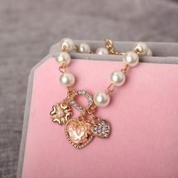 $enCountryForm.capitalKeyWord NZ - pearl charm bracelet charms with heart flower pendent letter D fashion korean style wholesale SHEN BR17157