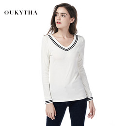 preppy women s clothing 2019 - Autumn Striped V-Neck T-Shirt Preppy Style Long Sleeve Top Female Autumn 2018 New Shirt 95% Cotton T-Shirts Winter Lady