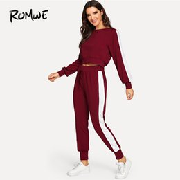 $enCountryForm.capitalKeyWord UK - Romwe Sport Burgundy Long Sleeve Pullover With Long Pants Women Jogging Suits 2018 Autumn Sportswear Sets Gym Fitness Suits