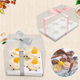 Discount craft cookie boxes - 2 6 4 Cupcakes Box Clear TED Transparent Biscuits Cookies Candy Boxes With Base Inside Wedding Party PVC Gift Packaging