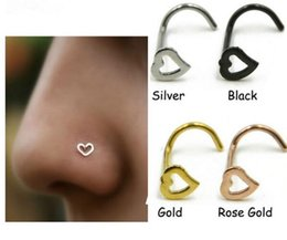 Wholesale nose s resale online - Fashion Heart Nose Rings S Shape Stud Ring Body Jewelry Piercing Stainless Steel Nose Open Hoop Ring Earring Studs