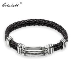 d4b16d4a8 925 silver bracelet men brand 2019 - Leather Crap Bracelet Black Pave,  Rebel 925 Sterling