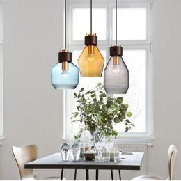 Glass Light Switch Covers NZ - SVITZ Kitchen 1 pcs interior lighting pendant light with glass cover grey Blue amber pendant lamps LED lights Japanese stye Luminaire