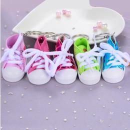 $enCountryForm.capitalKeyWord NZ - Cartoon mini DIY Baby canvas shoes KEYCHAIN KEYRING Mixed sequin i love you lovers keychains keyrings children wedding gift Hot Popular!