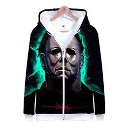 Michael Myers halloween 3D Impreso Zipper Hoodies Sudadera Hombres Mujeres  Hip Hop Hoodie Nueva Harajuku Chaquetas de Invierno Ropa 9242fbaea1e