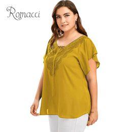 $enCountryForm.capitalKeyWord NZ - Romacci Sexy Women Plus Size Solid Blouse V Neck Crochet Lace Short Sleeve Oversize Summer Chiffon Shirt Asymmetric Shirt Top