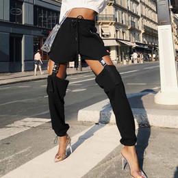 2019 Vendita calda Pantaloni casual neri alla moda Donna Autunno 2018 Streetwear Kpop Moda Pantaloni lunghi Pantaloni sportivi stile punk Pantaloni sportivi in Offerta