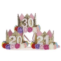 1 Pc Pop Glittering 20 21 30 Adult Birthday Party Hats Girl Princess Crown Cap Women Cake Caps Photo Props Decor