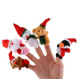 cute puppets UK - pudcoco Cute Family Finger Puppets Christmas Cloth Doll Baby Educational Hand Puppet Mini Fantoche Animal Plush Toy Sets