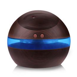 Umidificador ultra-sônico USB, Difusor de Aroma de 300 ml Difusor de Óleo Essencial Fabricante de Névoa de Aromaterapia Com Luz LED Azul (Madeira Escura) em Promoção