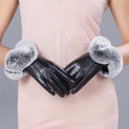 $enCountryForm.capitalKeyWord Australia - Women thickening Winter Gloves Fashion Warm Thicken Elegant PU Leather High quality Faux Fur Wrist Warm Women's Leather Gloves