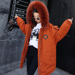 $enCountryForm.capitalKeyWord Canada - Large Raccoon Fur Jacket Duck Down Parkas Snow Coats Women Men Warm Thicken Outwear Tops Corduroy Plus Size S M 2017 Newest