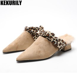 894976fda1b4 Winter Rabbit fur Slippers shoes Women Suede Low heels Mules Furry Slides  Ladies Shoes Pointed toe Sandalias mujer brown apricot