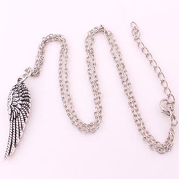 $enCountryForm.capitalKeyWord UK - Vintage Silver Plated Angel Wing for Women Men Link Chain Necklace Charms Pendants Jewelry Free Shipping