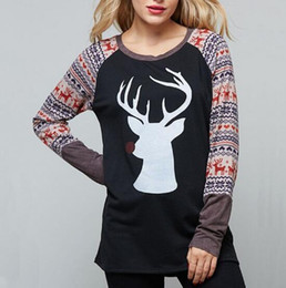 78270399be8 4 Colors Women Deer T-shirts Christmas Fashion Deer Top Womens Tops Fashion  Cartoon Tee Printed Autumn Winter Home Clothing CCA10435 10pcs