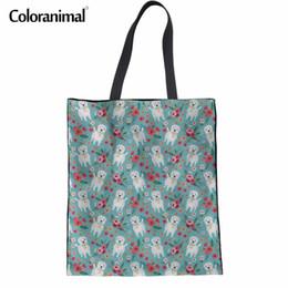 $enCountryForm.capitalKeyWord Canada - Coloranimal Westie Flower Canvas Handbags Linen Women Bags 2018 Fashion Designer Woman Tote Casual Shopping Bags Bolsa Feminina