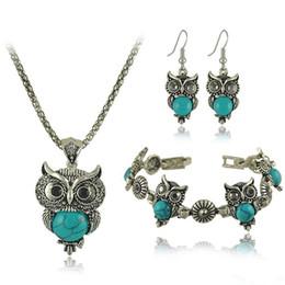 Blue Bird Bracelet online shopping - Jewelry Sets Acrylic BLUE Owl Necklace BRACELET Earrings Bird Choker Collar Fashion Jewelry News Spring Women Girl Gift
