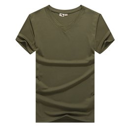 combat shirt green 2019 - Hot Man Summer V-neck Quick Dry Sports T-shirt Outdoor Hiking Combat T Shirt Men Hunting T-shirts Running Camisa Hombre