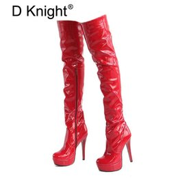 Women High Heels Tall Boots Sexy Patent Platform High Heeled Over The Knee  Boots For Women Ladies Pole Dancing Size 34-43 95b803abbac3