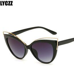 Sunglasses Sales NZ - LYCZZ Hot Sale Fashion Metal Ladies Cat Eye Sunglasses Women Brand Designer Sexy Sun Glasses for Woman Oculos De Sol Feminino