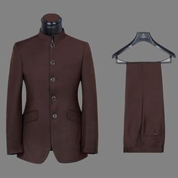 Groomsmen di alta qualità Mandarino dello sposo Smoking dello sposo Abiti da uomo Matrimonio / Prom. Blazer da uomo migliore (giacca + pantaloni + cravatta) A358