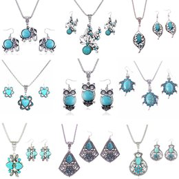 necklace elephant animal 2019 - Fashion Jewelry Sets Turquoise Elephant Owl Love Butterfly Animal Earrings & Necklace For Women Bohemian Vintage Necklac