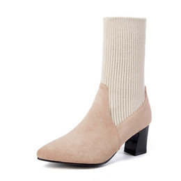 0ec5c5742144 zapatos mujer tacon Sock Boots Chunky square high heels Stretch Women 2018  Autumn Sexy Booties Pointed Toe women winter shoes