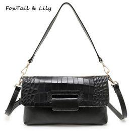 c204094c00da FoxTail   Lily Fashion Crocodile Pattern Envelope Clutch Bag Women Genuine  Leather Casual Shoulder Messenger Bags Luxury Quality