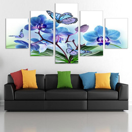 Cheap Paintings Sets Australia - 2017 Special Offer New Modern Free Shipping 5 Panels set Hd Flowers Canvas Print Painting Artwork Wall Art Picture Rolled Cheap