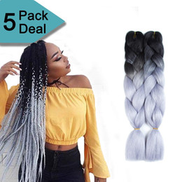 Discount xpression ombre twist braids - Ombre braiding hair Kanekalon Xpression synthetic Crochet braids twist 24inch 100g Ombre two tone Jumbo braid hair exten