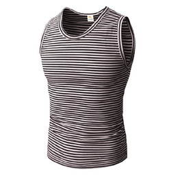 White Workout clothes online shopping - Mens Striped Fitness Gym Tank Tops Aerobics Clothing Male Sports Workout Sleeveless Body hugging Vests
