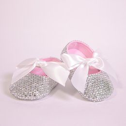 All Covered Clear Sparkle Bling out White Ribbon Bow Custom Handmade  Christening 0-1 Princess Newborn Baby Girl Ballerina Shoes abf5c070e06f