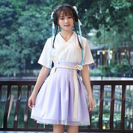 Women Costume Hanfu Australia - 2018 summer chinese dance costume for women fairy tang suit hanfu dress guzheng costume fairies chiffon skirt chinese folk dance