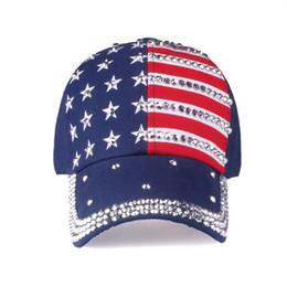 833e7948a0d American flag Baseball caps 2018 fashion hat For men women The adjustable  cotton cap rhinestone star Denim cap hat