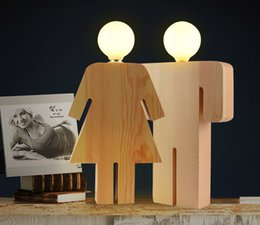 $enCountryForm.capitalKeyWord UK - Wooden LED table lamp human shape for wedding couple gift trim bedside lamp bedroom living room lamps hotel free shipping