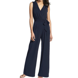 84929ba215d5 Zipper Sleeveless Women Jumpsuits V-neck Sashes Fashion Office Lady  Jumpsuit Summer 2018 Wide Leg Pants Casual Rompers New GV753