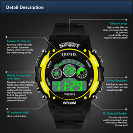 mens large sport watches Canada - Wholesale mens electronic watch led digital large screen sports swimming watches waterproof ATM30 high quality Chronograph wristwatch 3001F
