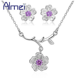 Cherry blossoms neCklaCe online shopping - Almei Cherry Blossoms Sakura Flower Jewelry Sets Silver Color Wedding Jewelry Set Women Earrings and Necklace Set Off DT340
