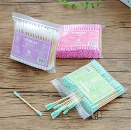 Wholesale New Baby Double headed spiral cotton swab ear colored cotton swabs box disposable cotton swab FB035