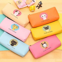 cute waterproof bag Australia - cute cartoons cat pencil bags larger capacity waterproof pu leather pencil case storage organizer pen bags pouch school supply stationery