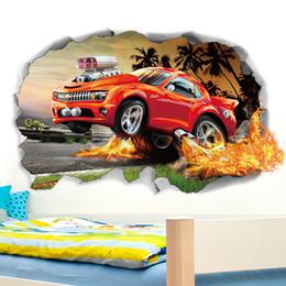 $enCountryForm.capitalKeyWord Australia - Crazy Cross-country Vehicle 3D Self-adhesive Wall Sticker PVC Broken Wall Sport Decal for Kids Room Home Decor