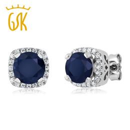 29c216eed GemStoneKing 925 Sterling Silver Gemstone Fine Jewelry 2.48 Ct Round Natural  Blue Sapphire Stud Earrings For Women