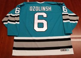a24655a0bb5 Wholesale Custom Sandis Ozolinsh San Jose Sharks Vintage CCM Cheap Hockey  Jersey Blue 1993 Patch Mens Retro Jerseys