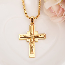 China Big Cross Crucifix Jesus Piece Pendant & Necklace beads chain Gold Color Copper Men Chain Christian Jewelry Gifts Vintage suppliers